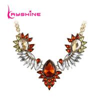 Gothic Blue Orange Charming Rhinestone Flower Statement Pendant Necklace 2014 New Fashion Jewelry