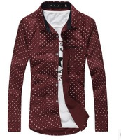 HOTSALE  Casual Long Sleeve Shirts Men Dress Shirts Polka Dot Style N-5
