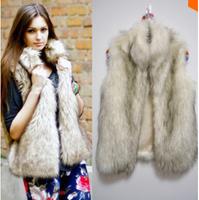 winter new 2014 Women Sleeveless Outerwear vest faux vest fox fur waistcoat design vest Long Hair Jacket Faux Fur Short Coat