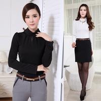 New 2014 Spring Autumn Fashion Women T-shirts Black Long SleeveCasual Ladies Tops Tees Shirts Turtleneck Free Shipping