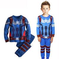 Children Clothing Sets Boys Long Sleeve Pajama Sets Toddler Baby Pajama Sleepwear Suit Cartoon IronMan 1-7Y