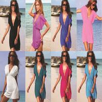 2014 Women Wholesale Beach dress / Mini / Bikini blouse outside  Pure  DressFree shipping  XQ01234466