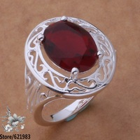 925 sterling silver ring, 925 silver fashion jewelry, Red /bcrajtya coxalgea R533