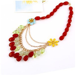 2014 New Arrived Europe and America MultilayerLong Ruby Necklace Gift For Women #N533(China (Mainland))