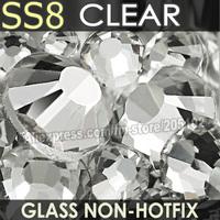 SS8 2.3-2.4mm, white Clear Non HotFix FlatBack Rhinestones,1440pcs/bag DIY DMC  loose nail art crystals strass glitters stones
