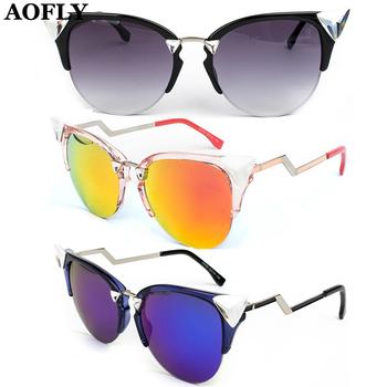 Высокое качество полу без оправы треугольник алмаз солнцезащитные очки Cat Eye очки новинка женщины бренд дизайнер зеркало линзы очки óculos