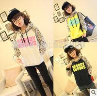 2014 New Latest Hoodies Sports Sweatshirt Autumn Fashion Women Leopard Print Hoodies Ladies' Leopard Casual Pullover Sweatshirt