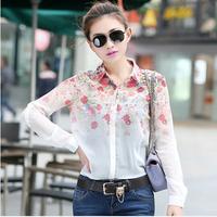 floral kimono blusa New 2014 Women Chiffon Blouses Women Flower Print Lapel Casual Chiffon Long Sleeved Shirts Women Tops camisa