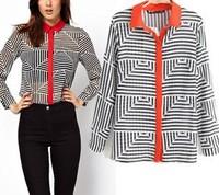 2014 Office Ladies work wear Chiffon Tops for women Striped autumn Winter Fashion woman peplum clothes blouse retro blusa camisa