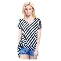 2014 Summer European style women blouses Plus size Short sleeve Loose shirt Striped Chiffon blouse blusas femininas camisa