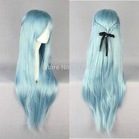 "Sword Art Online Asuna Yuuki violet 33"" Light Blue Cosplay Wig new"