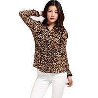 new 2014 autumn women blouse leopard print casual chiffon shirts cotton blouses plus size shirt top for women chiffon camisa