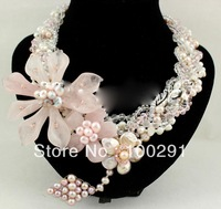free shipping!!! wholesale   Rose Quartz Jade Flower Pearl Necklace/Earring Set