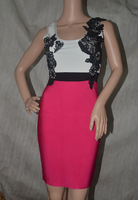 2014 High Quality New arrival sexy fashion white and hot pink flower lace Bandage Dress party Evening dress wholesale
