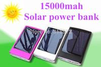 Brand New Full 15000mAh Solar Power Panel 2 USB External Mobile Battery Power Bank Black Silver Red Blue Gold Purple 200sets/lot
