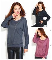 new fashion spring autumn cotton long sleeve plus size casual blusas femininas t shirt women basic t-shirt 2014