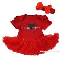 Black Spider Hot Red Bodysuit Jumpsuit Red Baby Dress NB-12M MAJS0456