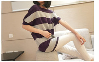 Pros and cons of wearing spring new Korean version back netting striped sweater round neck sweater long sweater bat