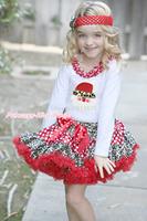 XMAS White L/S Top Leopard Santa Claus Minnie Lacing Christmas Minnie Leopard White Dot Pettiskirt 1-8Y MAMG1237