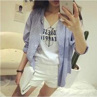 L355B woman blue plaid shirt 2014 long sleeve women shirts high fashion ladies blouse autumn