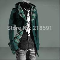 Free shipping 2014 Autumn Men's Fashion plaid hooded coat thin dust coat long trench overcoat hoody jacket Asia M-XXL