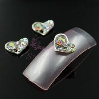 20pcs/lot 8x10mm Silver Alloy Heart Shape Crystal AB Rhinestones 3D Craft Salon Nail Art Manicure Supplies DIY Design Decoration