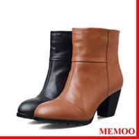 MEMOO 2014 Size4-12 Women Martin Boots High heel Round Toe Square heels Waterproof platform Back Zip A0915