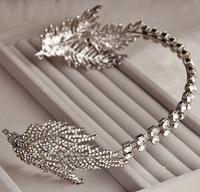 """""""Elf"""" Limited Edition Free Shipping Cezkh Glass Rhinestone Leaf Waterdrop trendy Elegant Veil Tiara For Wedding"""