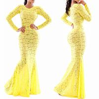 Summer 2014 New Fashion Long Sleeve Sexy  Dresses Women Floral Crochet Yellow Lace Dress Party Dress Vestido De Renda