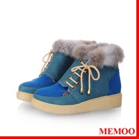 MEMOO Women Snow Boots Round Toe Flat heel Waterproof platform Mixed Color   Size34-43 PU Winter Outdoor Shoes A1680