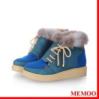 MEMOO Women Snow Boots Round Toe Flat heel Waterproof platform Mixed Color   Size34-43 PU Winter Outdoor Shoes A1680