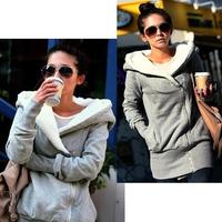 2014 New Autumn Korea Women Hoodies Coat Warm Zip Up Outerwear Sweatshirts thickening Winter Women Clothing Russia Hot Sale