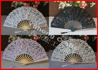Free shipping 5pcs/lot Handmade White Lace Fans Lady Embroidered Lace Craft Hand Fan Bridal Wedding Party Decorations