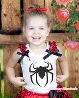 Black Spider Print Princess Red Black Ruffle Black Bow White Top MAT678
