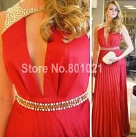 Elengant Stylish A-Line Cap Sleeves Chiffon Crystal Red V-Neck Floor Length Custom Made 2015 Prom Eevning Dresses
