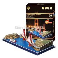 World Famous Building Series-Golden Gate Bridge DIY 3D puzzle 3D jigsaw educational toy best gift to children 20pcs(48*20cm)