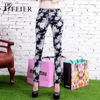 The plus size jeans female brand new printing skinny jeans pants black flower slim women pencil pants toursers