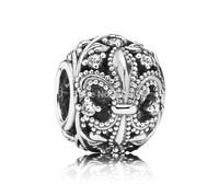 925 Sterling Silver Fleur de Lis Openwork Bead with Clear CZ Fit European Style Jewelry Charm Bracelets & Necklaces