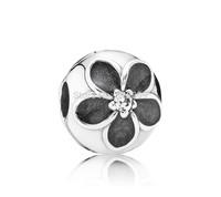 925 Sterling Silver Black Enamel Flower Clip  Bead Fit European Style Jewelry Charm Bracelets & Necklaces
