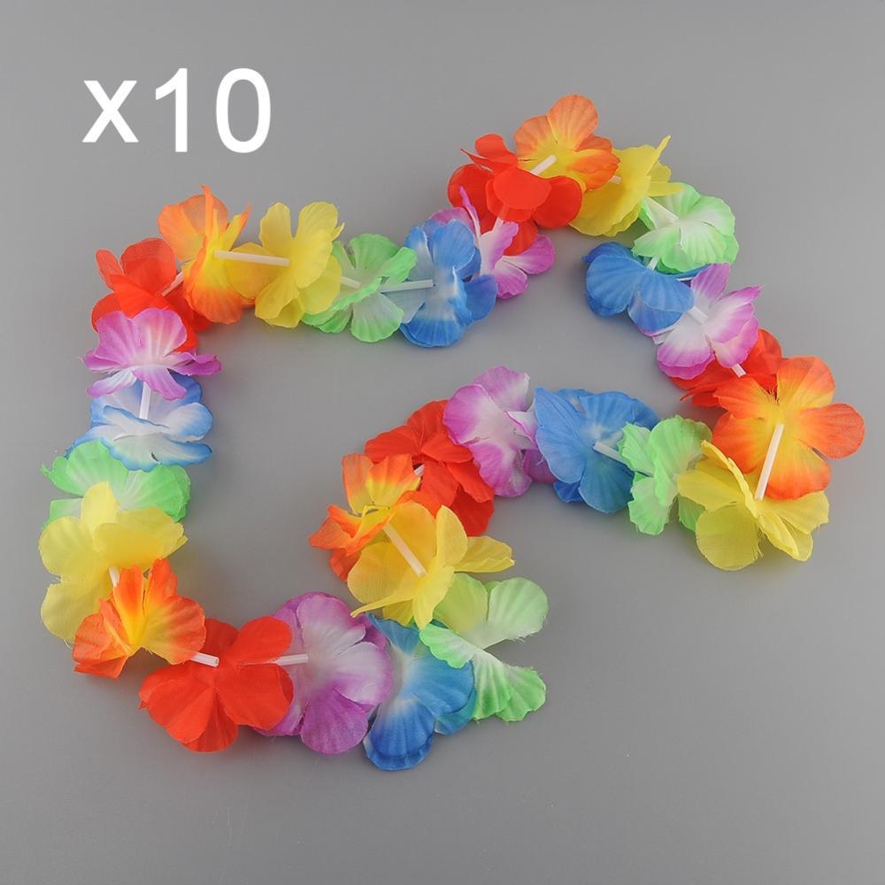 10 x Гавайских тематические цветочные гирлянды Ожерелья