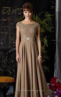 Jeweled Lace Cap Sleeves Long Chiffon Evening Dress Vestidos de Noite Custom Made XS S M L XL 2XL 3XL 4XL