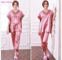 New Casual Silk Pajama Ladies Nightwear Suit Autumn Spring Home Clothing Pijamas Femininos Verao Sleepwear Pyjamas Set For Women