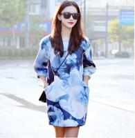 2014 Early Autumn High Street Brief Slim Tie-dye Women Long Hoodie Wear Thick Casual Trendy Europe Style Ladies Flora Pullovers