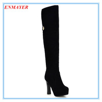 ENMAYER Round Toe Over-the-Knee Autumn White boots Fashion Flock long Boots for women Platform shoes woman girl boots black