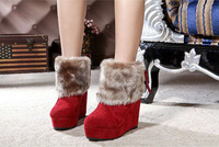 2014 size36-39 fashion elegant lady's short boots winter warm fur women ankle boots charming warm snow boots winter shoes s39