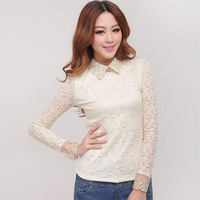 Spring Elegant Lace Crochet Tops For Women Long Sleeve Slim Waist Body Shirt Fashion Hollow Out Ladylike Style Basic Tees 3321