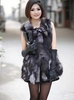 Brand New 2015 Winter Fashion Womens Long Design Genuine Fox Fur Vest Free EMS shipping Plus Size