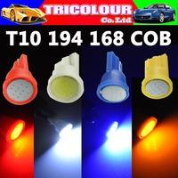 Maike.2 x T10 led cob w5w car led auto lamp 12v light bulbs T10 w5w 184 194 led side light white red blue amber yellow #LB104