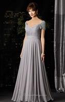 Silver Grey Studded Sleeve Chiffon Evening Dress Vestidos de Noite Custom Made XS S M L XL 2XL 3XL 4XL