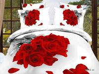 Romantic 3D Red roses bunch 100% cotton 4pcs bedding sets bed linen 3d quilt cover bed sheet pillow case set home textile B2901